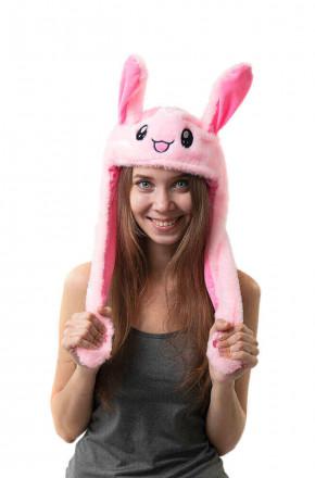 Шапка кигуруми с подвижными ушками и подсветкой Кролик розовый